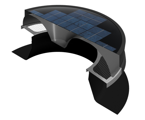 The Solaro Aire™ solar powered attic fan housing system is aerodynamically designed to produce the highest possible radial air exhaust, powder coated aircraft grade spun-formed aluminum for quality.