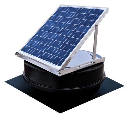Solaro Aire™ solar powered attic fan Tilt Series allow the solar panel to be adjust to desired angle. Great for flat roofs on homes or offices.