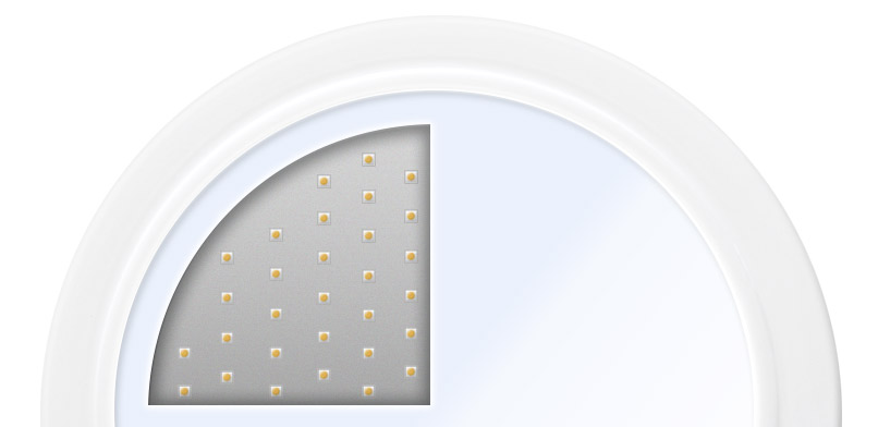 Behind the Solaro Day™'s acrylic diffuser are individual Opto Semiconductors, designed with the highest quality and latest technology. Better known as light emitting diodes (LEDs), only a few millimeters in length, converts electrical energy directly into light.
